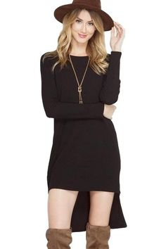 "- Color: Black - High Low Dress Featuring Side Zipper Details - Breathable, Ribbed Material - Materials: 65% Cotton / 35% Rayon - Model Measurements - Height 5'8"" - Measurements: - Small - Bust 36"" /"