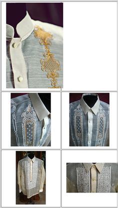 Some sample of how a Barong Tagalog (Philippine's National Clothing for Men) looked like and these ones are made from Lumban, Laguna, Philippines. Barong Tagalog Wedding, Latifa, Filipino Wedding, Filipino Fashion, Philippines Fashion, Battle Dress, Wedding Photo Gallery, Filipiniana, National Symbols