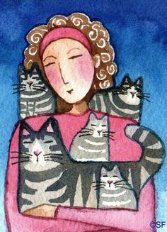 Cat Mom No. 1 Art Prints by Susan Faye