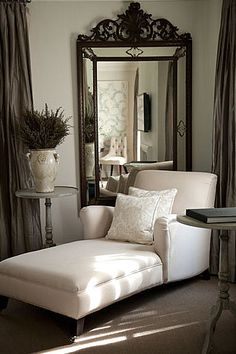 Creme Chaise Lounge, Antique Gilded Mirror.