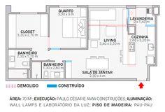 Ambientes integrados definem apartamento de 70m². Fotos publicadas na revista Arquitetura & Construção.