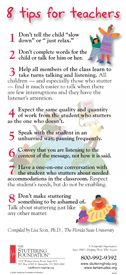 Stuttering Foundation Brochure - 8 Tips for Educators - - Pinned by @PediaStaff – Please visit http://ht.ly/63sNt for hundreds of pediatric therapy pins