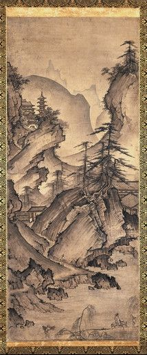 Attributed to Zen monk: Kei Shokei (Muromachi period, 16th century AD), Hanging scroll Mountain landscape. The painting shows the influence of Chinese painting of the Southern Song dynasty (1127-1279), as interpreted in Japan by the priest-painter Shu-bun. The British Museum.