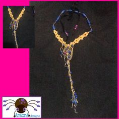 Crochet necklace, with wooden and glass beads, hand made, exclusive design.