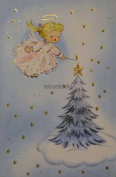 #1486 50s Angel Lights the Tree-Vintage Christmas Card-Greeting