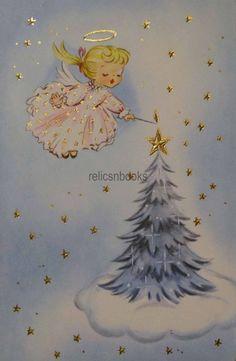 #1486 50s Angel Lights the Tree-Vintage Christmas Card-Greeting