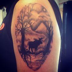 Mooscape. #art #artist #tattoo #tattoos #tattooart #tattooshop #tattooartist #tattoodesign #tattooartists #nature #natureart #naturetattoo #moose #moosetattoo #trees #treetattoo #silhouette #silhouettetrees #silhouetteart #landscape #minneapolis...