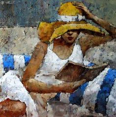 André Kohn is a Russian-born painter whose style is described as figurative impressionist. For biographical notes -in english and italian- by Kohn see: Andre Kohn, 1972 Art Aquarelle, Maria B, Reading Art, Painter Artist, Impressionist Art, Art Themes, Figure Painting, Oeuvre D'art, Art World