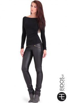 Czarne, matowe spodnie skórzane czarne