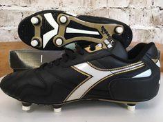 2292c432c5e3ba Vintage 1990s Diadora Squadra SC Uk 8 US 9 Eu 42 Football Boots Black  Leather OG