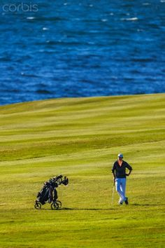 Playing Golf by the sea, Iceland