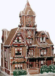 Incredible Victorian manor house crafted of gingerbread by enormously talented artist/pastry chef Ginny Pilarz of Kansas City, Missouri ~ Second Place winning entry in the 1995 Good Housekeeping Gingerbread Contest....