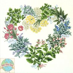 picture of herb hearts | JCA - Herbal Heart Wreath - Cross Stitch World