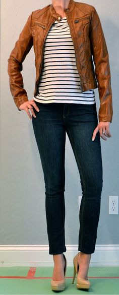 outfit post: jean skinnies, striped top, tan pleather jacket | Outfit Posts Dynamic