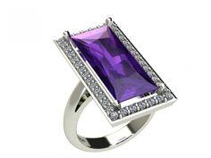 Anello oro bianco ametista viola ct 6,48 cornice di diamanti carati 0,40 g-vs1