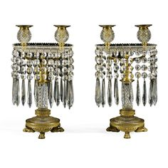 c1815 A pair of Regency ormolu and cut glass two-light candelabra circa 1815, probably by John Blades Estimate  4,000 — 6,000  GBP 6,350 - 9,526USD LOT SOLD. 5,000 GBP (7,938 USD) (Hammer Price with Buyer's Premium)
