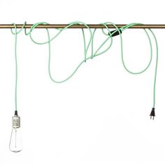 Industrial Pendant Light Kit. Mint green cord $25