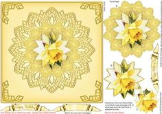 Daffodil Doily Frame Pyramage on Craftsuprint designed by Sandie Burchell - Beautiful 7 inch Square Pyramage Card with 3 Layers of Pyramage. The finished card will fit into a standard 8 inch Square envelope. Sentiment Panels include: Happy Birthday, Happy Mother's Day or Blank for your own peel-off lettering or stamp. There is also a Matching Insert for this design please see related sheets. To see more of these designs click on my name and type doily frame into my search box and sort…