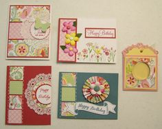 cards by Kathy Burrows using CTMH Chantilly paper.... (change sentiments)
