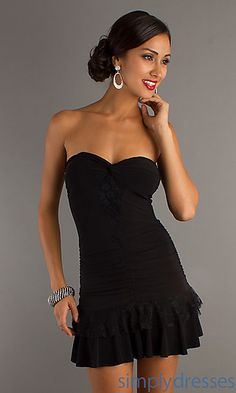 Strapless Sweetheart Little Black Dress at PromGirl.com