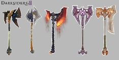 Concept art of Axes from Darksiders 2 by Rayph Beisner