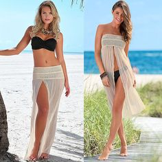 Celebrity Style Knitted Crotchet Beach Wear Cover- up  Holiday Dress One Size