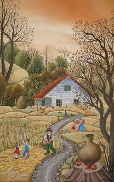 Country Road by Mariana Minut Autumn Painting, Fall Paintings, Fork Art, Folk, Naive Art, Heart Art, Cute Art, Les Oeuvres, Art Gallery