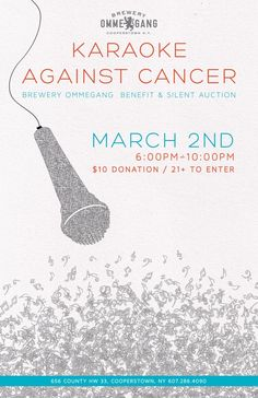 Karaoke Against Cancer Poster for Brewery Ommegang