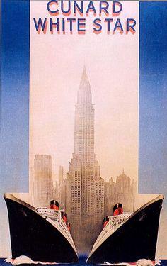 Image detail for -Ocean Liner Travel Poster - Cunard White Star
