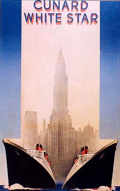 Image detail for -Ocean Liner Travel Poster - Cunard White Star