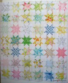 Star Quilt Utilizing Vintage Sheets