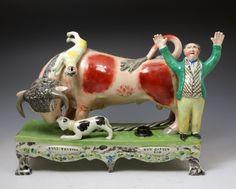 Staffordshire pottery table base bull baiting group by Obadiah Sherratt circa 1820