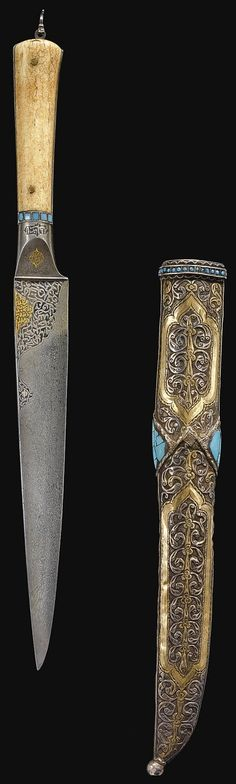 Persian (Bukhara) kard dagger, dated A.H. 1210/ A.D. 1795-6, tapered watered steel blade with chiselled and gold-overlaid inscriptions, walrus ivory hilt with a cuff of turquoise glass insets, the silver-gilt scabbard chased with foliate motifs and set with turquoise, 40.1cm. The inscriptions include Qur'an, surah al-Saff (LXI), parts of 13; surah Hud (XI), parts of 88; surah Al 'Imran (III) parts of 126 and invocations to God.