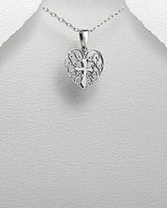 STERLING SILVER HAWAIIAN ALOHA HOLY HEART WITH CROSS PENDANT NECKLACE #Pendant