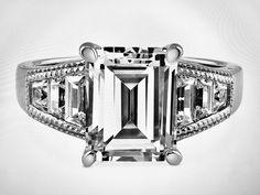 A Perfect 4CT Emerald Cut Russian Lab Diamond Engagement Wedding Anniversary Ring