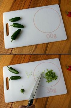 How handy will this little gadget be in your kitchen?    This cutting board instantaneously weighs what you put in the circle!