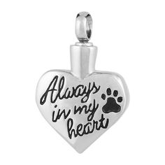 Perfect Memorials Always Paw Heart Stainless Steel Cremation Jewelry ** Check this awesome product by going to the link at the image. (This is an affiliate link) #PetCats