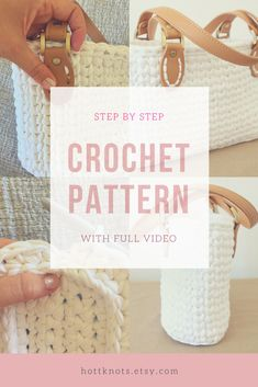 crochet handbag pattern with full video tutorial with subtitles for the deaf! Step-by-step on Ravelry