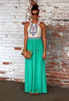 High Waisted Printed Maxi Dress