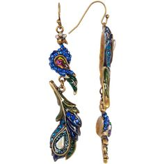 Betsey Johnson Rhinestone Peacock Feather Drop Earrings ($25) ❤ liked on Polyvore featuring jewelry, earrings, multi, multi colored earrings, gold tone drop earrings, peacock feather earrings, betsey johnson jewellery and rhinestone earrings