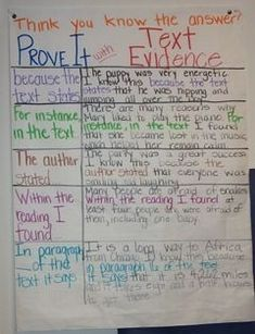 """""""Prove it with Text Evidence"""" (anchor chart) Middle School Reading, 4th Grade Reading, Guided Reading, Close Reading, Reading Lessons, Citing Text Evidence, Evidence Anchor Chart, La Salette, We Are Teachers"""