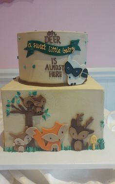 Oh Deer Woodland Baby Shower Cake - SweetPea Cake & Cupcake Boutique Baby Girl Shower Themes, Baby Shower Gender Reveal, Baby Boy Shower, Cupcake Boutique, Baby Boutique, Deer Baby Showers, Baby Boy Cakes, Woodland Baby, Woodland Animals