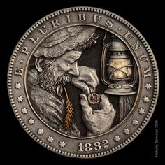 "Morgan silver dollar ""Lefty"" - hand-engraved by Aleksey Saburov with gold & copper inlay."