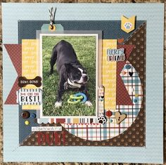 "Duke, ready to play. It's also his favorite yoga position - go figure. Slift of Kristine Davidson's ""Archie!"" Layout for the Scraplift your Favorites"" challenge. Dog Scrapbook Layouts, Scrapbook Sketches, Scrapbook Paper Crafts, Scrapbook Cards, Travel Scrapbook, Scrapbook Albums, Box Photo, Picture Layouts, Creative Memories"