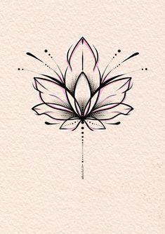 Lotus Tattoo Design, Flower Tattoo Designs, Flower Tattoos, Little Tattoos, Small Tattoos, Cool Tattoos, Simple Lotus Flower Tattoo, Lotus Flower Art, Simple Mandala Tattoo