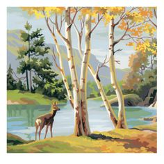 Deer by Lake Posters by Pop Ink - CSA Images - AllPosters.ca