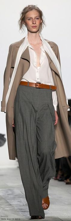 Michael Kors Spring 2014 RTW--not sure about the full pleated pants, but the overall look is good.