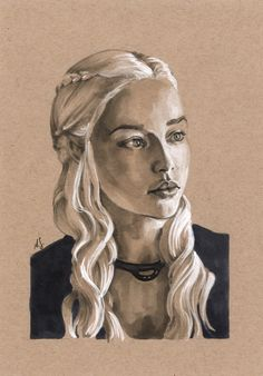 Daenerys on Toned Paper 1 Copic Marker Art Illustration - Game of Thrones - GOT artwork portrait sketchcard by *AllisonSohn on deviantART