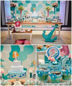 Mermaid themed 1st birthday party via Kara's Party Ideas KarasPartyIdeas.com @brittanykirklin