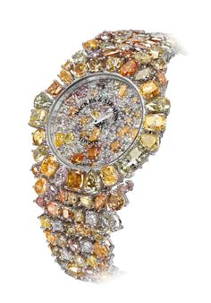 Backes & Strauss' spectacular Piccadilly Princess Royal Colours watch is entirely covered in 225 diamonds in 66 different hues, all of them of the prized fancy-coloured variety (930×1334)